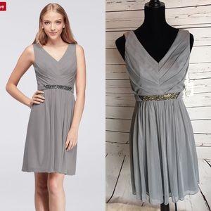 NWT David's Bridal short mesh tank dress w/ beaded